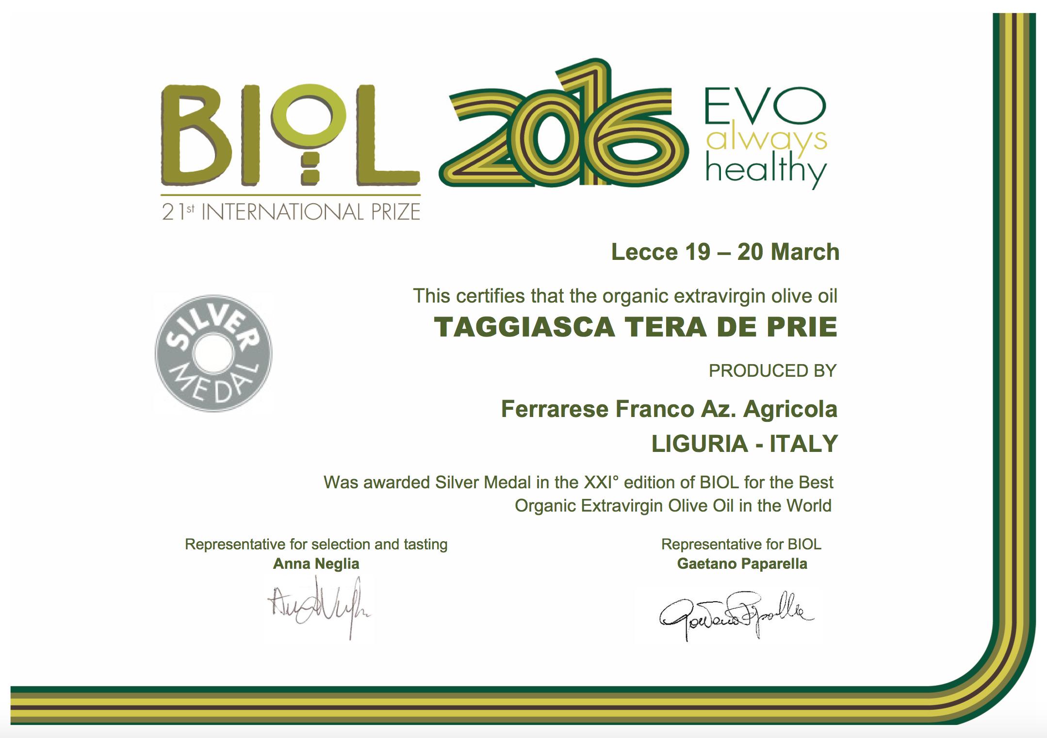Sul podio del 21° Premio Biol