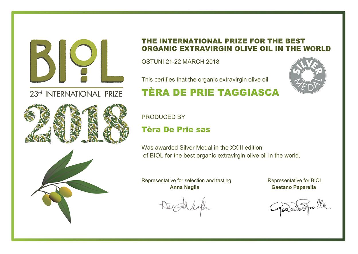 Premio Biol 2018 Silver Medal