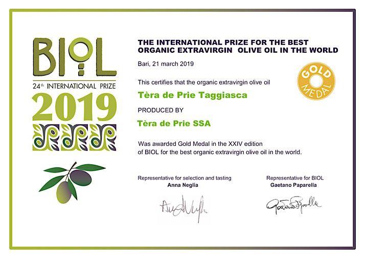 Gold Medal Premio Biol 2019