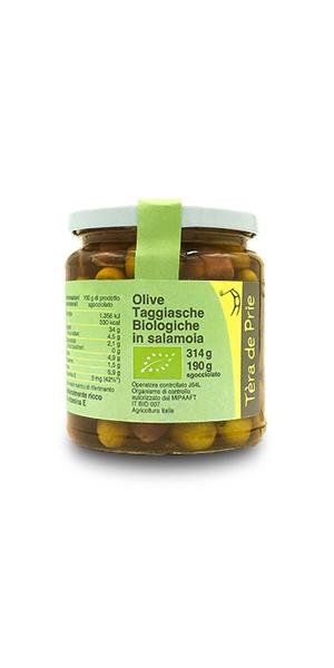 Vasetto olive in salamoia taggiasche biologiche tèra de prie