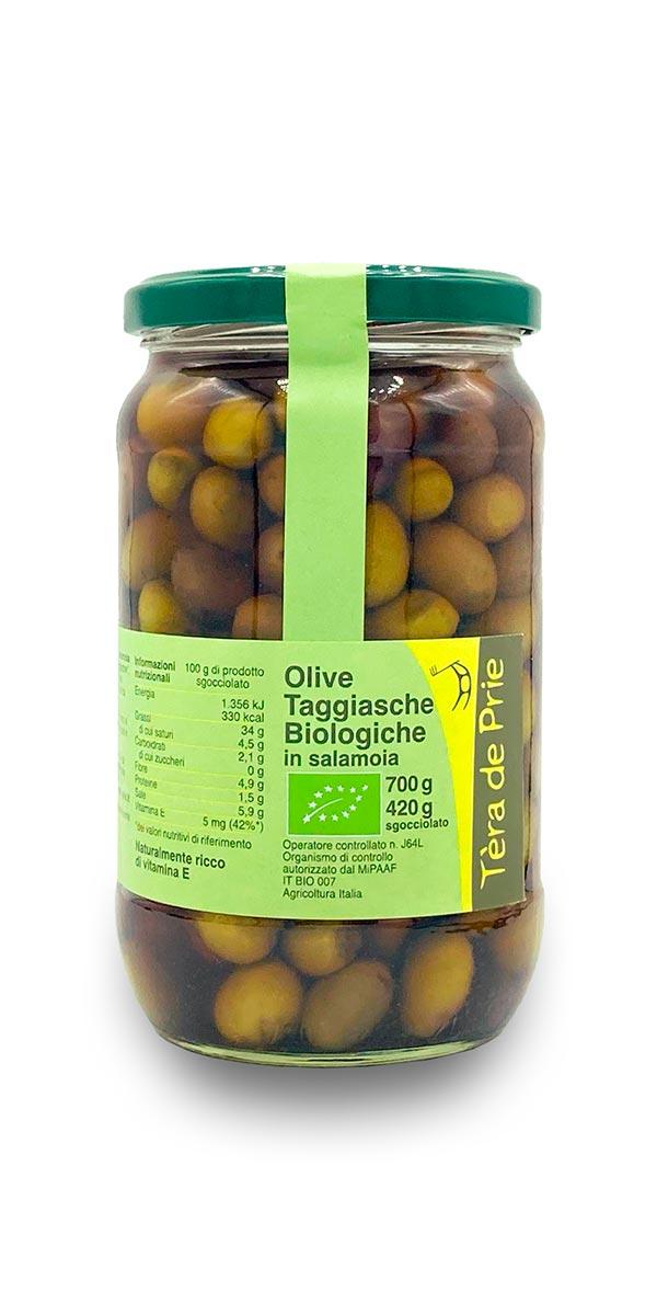 olive taggiasche biologiche in salamoia