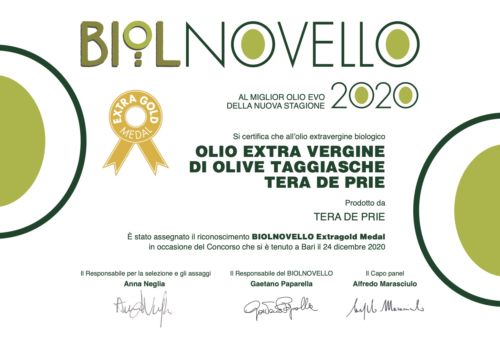 Extra Gold Medal al BIOLNOVELLO 2020/2021